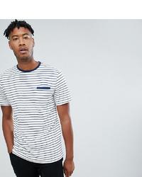 T-shirt à col rond à rayures horizontales blanc et bleu marine Jacamo