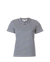 T-shirt à col rond à rayures horizontales blanc et bleu marine Junya Watanabe