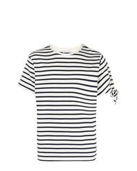 T-shirt à col rond à rayures horizontales blanc et bleu marine JW Anderson