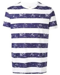 T-shirt à col rond à rayures horizontales blanc et bleu marine Kent & Curwen
