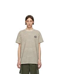 T-shirt à col rond à rayures horizontales blanc et bleu marine Loewe