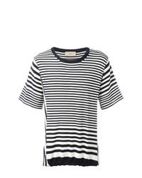 T-shirt à col rond à rayures horizontales blanc et bleu marine Maison Flaneur