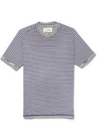 T-shirt à col rond à rayures horizontales blanc et bleu marine Maison Martin Margiela
