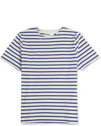 T-shirt à col rond à rayures horizontales blanc et bleu marine Margaret Howell
