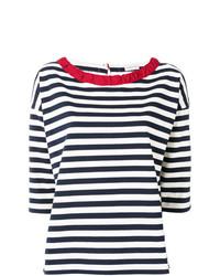 T-shirt à col rond à rayures horizontales blanc et bleu marine Moncler