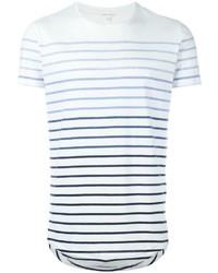 T-shirt à col rond à rayures horizontales blanc et bleu marine Orlebar Brown