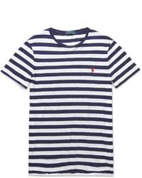 T-shirt à col rond à rayures horizontales blanc et bleu marine Polo Ralph Lauren