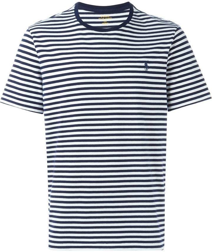 Marine Horizontales Bleu T Ralph Lauren Rayures Col Rond À Blanc Et Shirt Polo 6yfb7gYv