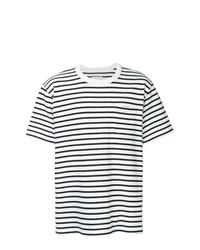 T-shirt à col rond à rayures horizontales blanc et bleu marine Sacai