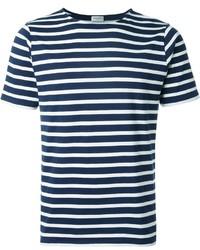T-shirt à col rond à rayures horizontales blanc et bleu marine Saint Laurent