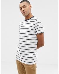 T-shirt à col rond à rayures horizontales blanc et bleu marine Selected Homme