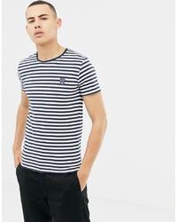 T-shirt à col rond à rayures horizontales blanc et bleu marine Solid