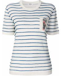 T-shirt à col rond à rayures horizontales blanc et bleu marine Sonia Rykiel