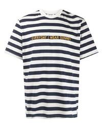 T-shirt à col rond à rayures horizontales blanc et bleu marine Sunnei