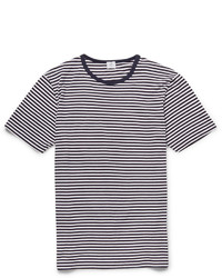 T-shirt à col rond à rayures horizontales blanc et bleu marine Sunspel