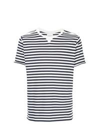 T-shirt à col rond à rayures horizontales blanc et bleu marine Takahiromiyashita The Soloist