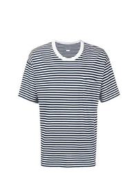 T-shirt à col rond à rayures horizontales blanc et bleu marine VISVIM