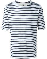 T-shirt à col rond à rayures horizontales blanc et bleu marine Wood Wood
