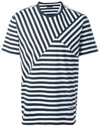 T-shirt à col rond à rayures horizontales blanc et bleu marine Z Zegna