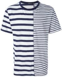T-shirt à col rond à rayures horizontales blanc et bleu Alexander Wang