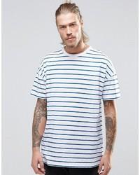 T-shirt à col rond à rayures horizontales blanc et bleu Asos