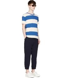 T-shirt à col rond à rayures horizontales blanc et bleu Closed
