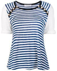 d26b8e0bcd5e0 ... T-shirt à col rond à rayures horizontales blanc et bleu Derek Lam 10  Crosby