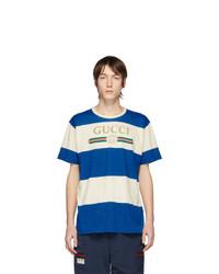 T-shirt à col rond à rayures horizontales blanc et bleu Gucci