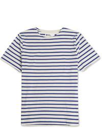 T-shirt à col rond à rayures horizontales blanc et bleu Margaret Howell