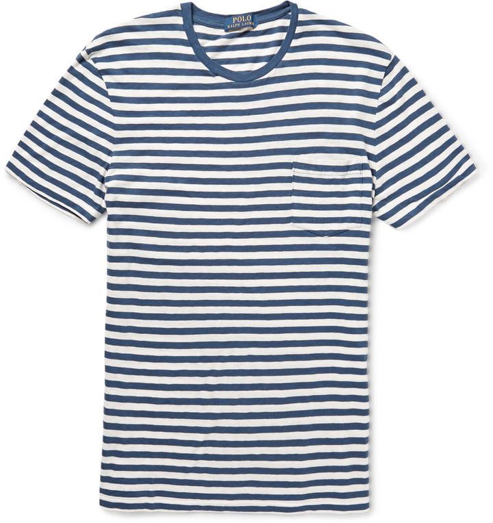 T-shirt à col rond à rayures horizontales blanc et bleu Polo Ralph Lauren