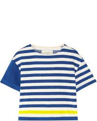 ba0fa6f579c33 Acheter t-shirt à col rond à rayures horizontales blanc et bleu ...