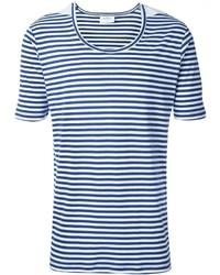 T-shirt à col rond à rayures horizontales blanc et bleu THE WHITE BRIEFS
