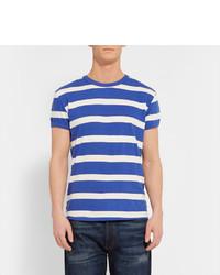 T-shirt à col rond à rayures horizontales blanc et bleu Levi's