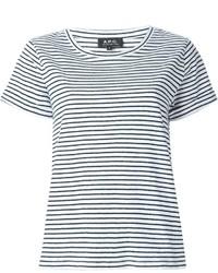 T-shirt à col rond à rayures horizontales blanc et noir A.P.C.