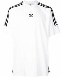 T-shirt à col rond à rayures horizontales blanc et noir adidas