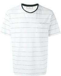 T-shirt à col rond à rayures horizontales blanc et noir AMI Alexandre Mattiussi