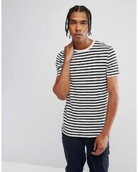 T-shirt à col rond à rayures horizontales blanc et noir Asos