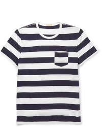 T-shirt à col rond à rayures horizontales blanc et noir Burberry
