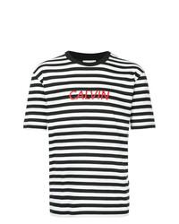 T-shirt à col rond à rayures horizontales blanc et noir CK Calvin Klein