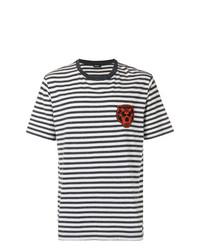 T-shirt à col rond à rayures horizontales blanc et noir Diesel