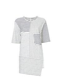 T-shirt à col rond à rayures horizontales blanc et noir Forme D'expression