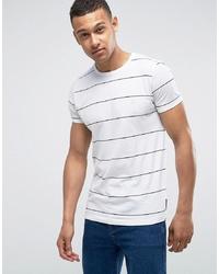 T-shirt à col rond à rayures horizontales blanc et noir French Connection