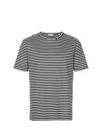 T-shirt à col rond à rayures horizontales blanc et noir Gieves & Hawkes