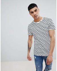 T-shirt à col rond à rayures horizontales blanc et noir Jefferson