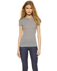 T-shirt à col rond à rayures horizontales blanc et noir Just Female