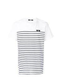 T-shirt à col rond à rayures horizontales blanc et noir Karl Lagerfeld