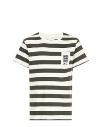 T-shirt à col rond à rayures horizontales blanc et noir Kent & Curwen