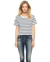 T-shirt à col rond à rayures horizontales blanc et noir Madewell