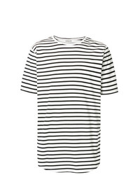 T-shirt à col rond à rayures horizontales blanc et noir Monkey Time
