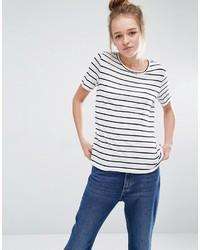 T-shirt à col rond à rayures horizontales blanc et noir Monki